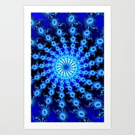 """""""Blue Sun"""" Spiral Fractal Art Print Art Print"""