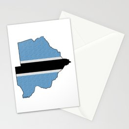 Botswana Map with Botswana Flag Stationery Cards