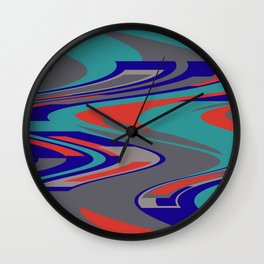 Turquoise Wave Graphic with Blue and grey Wall Clock