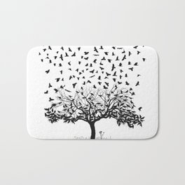 Crows in a tree Bath Mat