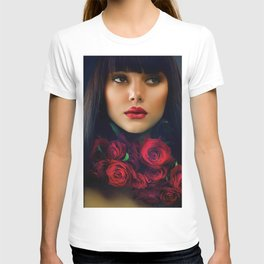 Beautiful Fashion Girl with Roses T-shirt