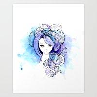 waterfall Art Prints featuring Waterfall by Sherry Yuan