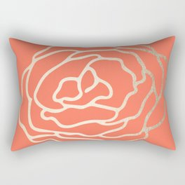 Rose White Gold Sands on Deep Coral Rectangular Pillow