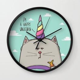 I'm happy unicorn cat Wall Clock