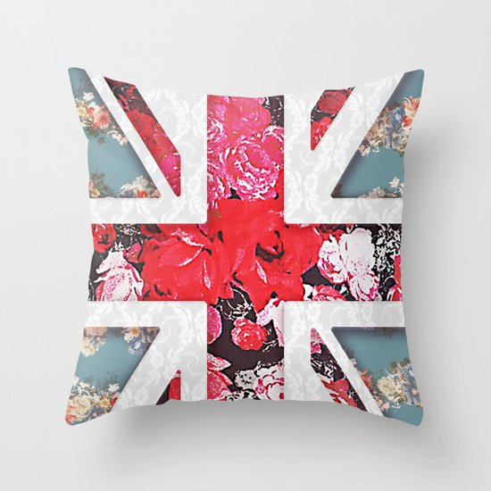 God save the Queen | Elegant girly red floral & lace Union Jack  Throw Pillow