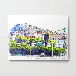 View of the village of Scalea with traffic lights Metal Print