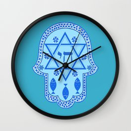 Hamsa for blessings, protection and strength - Turquoise Wall Clock