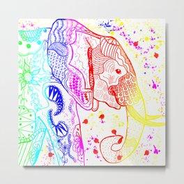 Rainbow Zentangle Elephant Metal Print