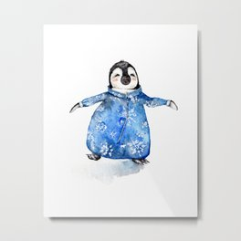 Baby Penguin in Onsie Metal Print