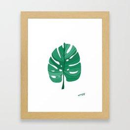 Monstera Leaf Tropical Illustration Framed Art Print