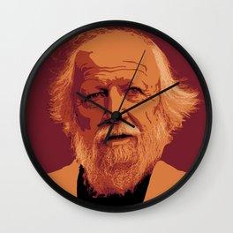 William Golding - crimson and gold portrait Wall Clock