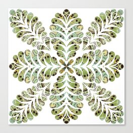 Spring Green Feather Flourish Canvas Print