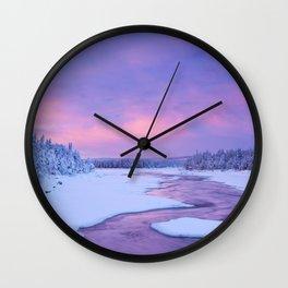 Sunrise over river rapids in a winter landscape, Finnish Lapland Wall Clock