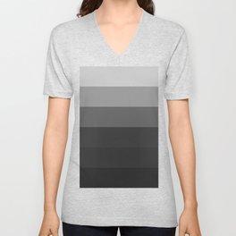 Gray to Black Stripes Unisex V-Neck