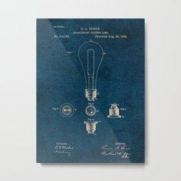EDISON PATENTS / 01 - Incandescent Electric Lamp - Blueprint Metal Print