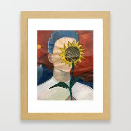 man obscured by sunflower Framed Art Print