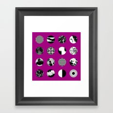 Purple Delight - Black And White Eclectic Random Designs On A Purple Background Framed Art Print