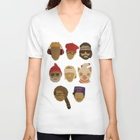novelty V-neck T-shirts featuring Wes Anderson Hats by godzillagirl
