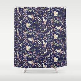 Dark Intricate Floral Pattern Shower Curtain