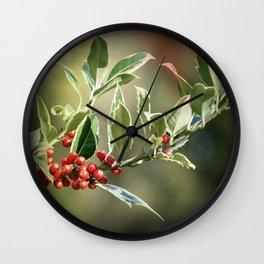 Festive Holly Wall Clock
