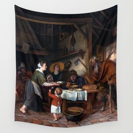Jan Steen The Satyr and the Peasant Family Wall Tapestry