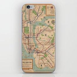 New York City Metro Subway System Map 1954 iPhone Skin