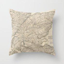 Vintage Map of Scotland (1855) Throw Pillow