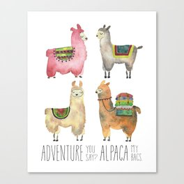 Llama Alpaca Adventure Print Funny Cute Animal Watercolor Tribal Woodland Travel Peru Baby Decor Canvas Print