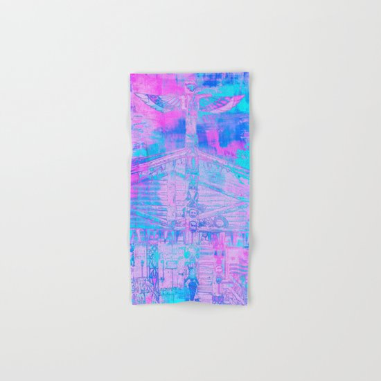 Totem Cabin Abstract - Hot Pink & Turquoise Hand & Bath Towel