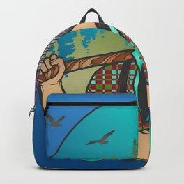 Hipster Lumberjack Blue Backpack