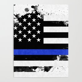 Distressed Thin Blue Line American Flag Poster