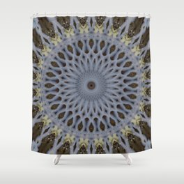Detailed mandala in grey and brown tones Shower Curtain