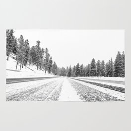 Snow Road // Snowy Winter Wonderland Black and White Landscape Photography Ski Poster Rug