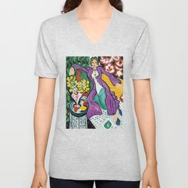 Woman in a Purple Coat 1937 by Henri Matisse, Artwork Design, Poster Tshirt, Tee, Jersey, Postcard Unisex V-Neck