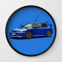 subaru Wall Clocks featuring Subaru Impreza 22B STI Type UK Sonic Blue by Digital Car Art