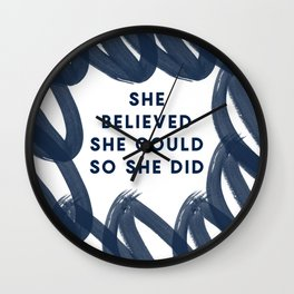 She Believed She Could So She Did-Navy   Inspiration   Quotes Wall Clock