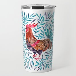 Le Coq – Watercolor Rooster with Turquoise Leaves Travel Mug