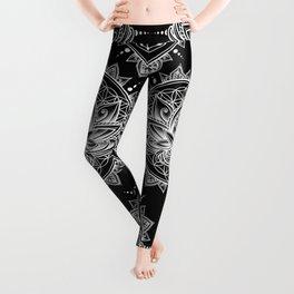 Lotus Mandala - Black Leggings
