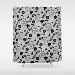 Grayscale Hipster Elements Pattern Shower Curtain