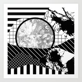 Eclectic Black And White - Black and White Abstract Patchwork Textured Design Art Print