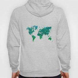 Green watercolor world map Hoody