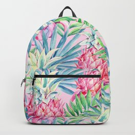 Pineapple & watercolor leaves Backpack