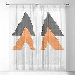Forward arrows marble orange Sheer Curtain