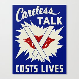 Careless Talk Costs Lives Canvas Print