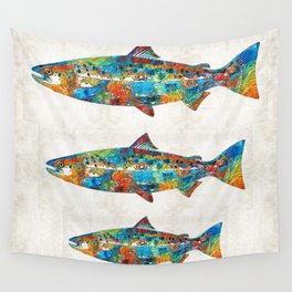 Fish Art Print - Colorful Salmon - By Sharon Cummings Wall Tapestry