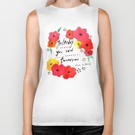 Shia Labeouf Motivational Typography with Flowers Biker Tank