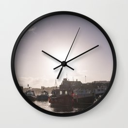 Sunrise over Newquay harbour Wall Clock