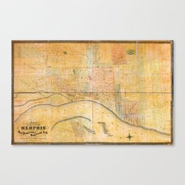 Map of the City of Memphis, Tennessee (1858) Canvas Print
