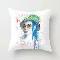 fear and loathing Throw Pillows featuring Fear and Loathing by Becca Douglas