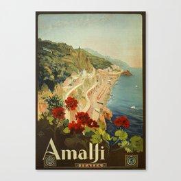 Vintage Travel Ad Amalfi Italy Canvas Print